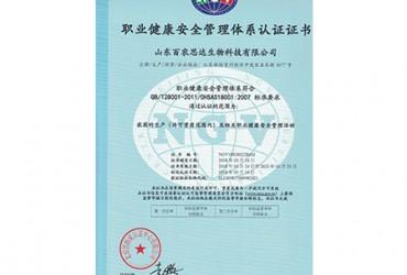 职业健康******管理体系认证证书